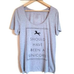 should have been a unicorn grey t-shirt size L